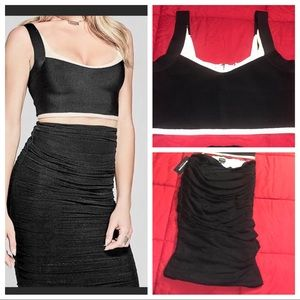 Marciano Tricia Ruched Skirt & Bandage Crop Top